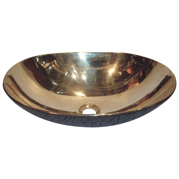 Cast Bronze Sink Shiny Yellow Inside Dark Outside by Coppersmith Creations