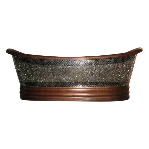 Copper Bathtub Glass Mosaic Outside by Coppersmith Creations