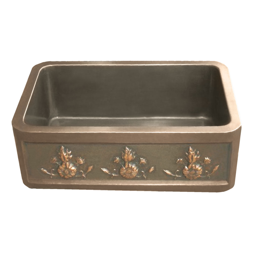 Copper Farmhouse Sink 3 Flower Front Apron Coppersmith