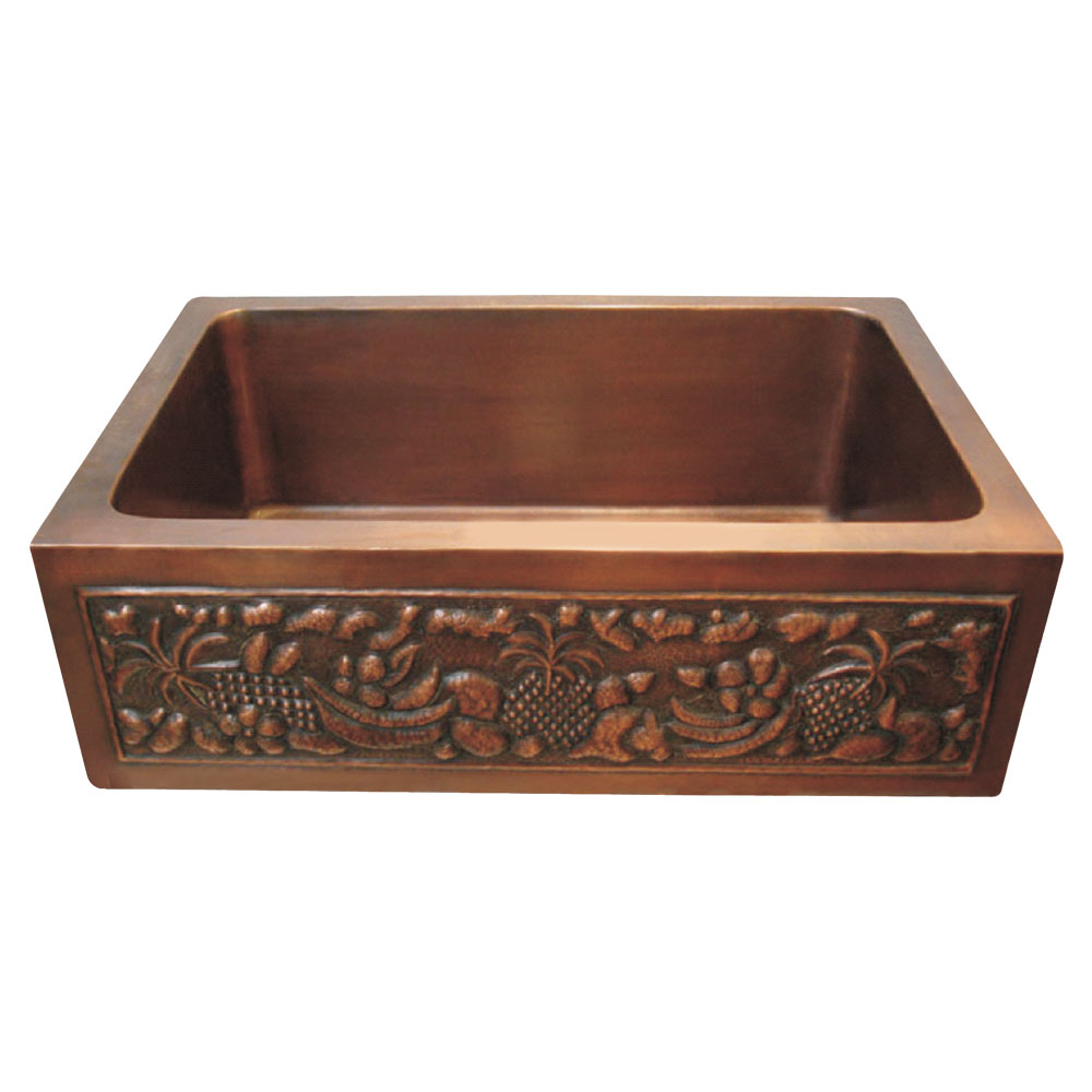 Copper Farmhouse Sink with Front Apron Coppersmith Creations