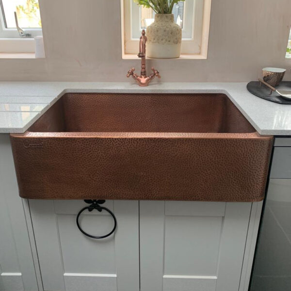 Single Bowl Copper Kitchen Sink Front Apron Hammered Antique Finish