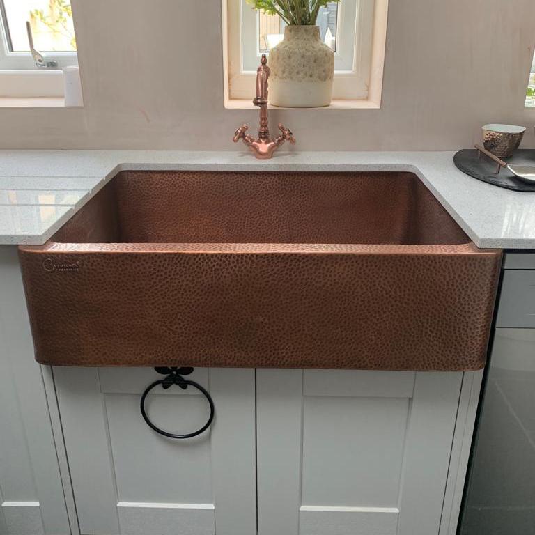 single bowl copper kitchen sink front apron hammered