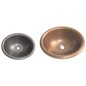 Rounded Edge Round Hammered Copper Sink