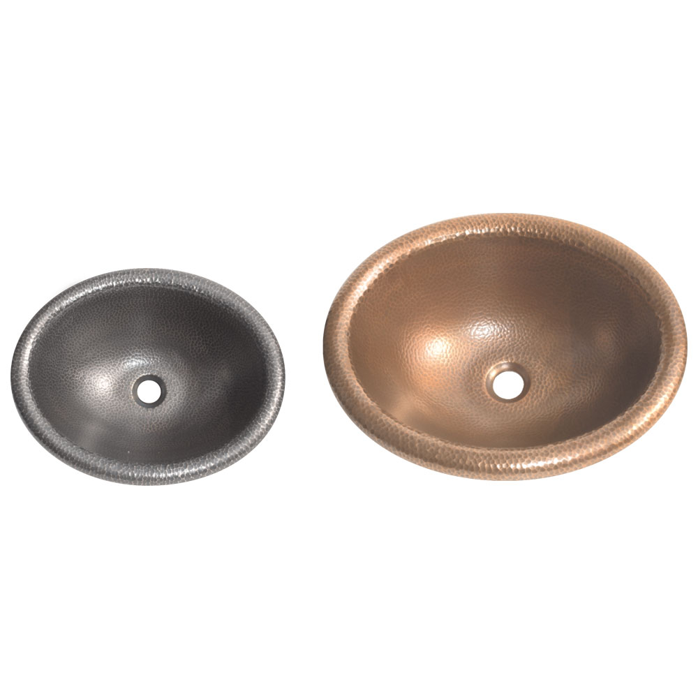Rounded Edge Round Hammered Copper Sink Coppersmith