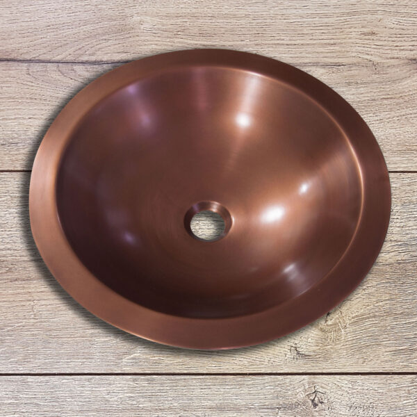 Round Copper Sink Hammered 18 x 5