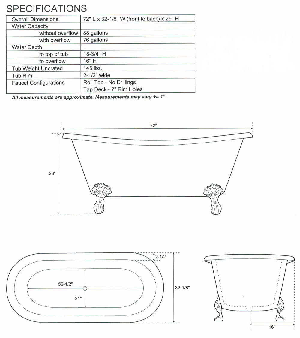 Copper Bathtub Clawfoot Design Technical Drawing by Coppersmith Creations