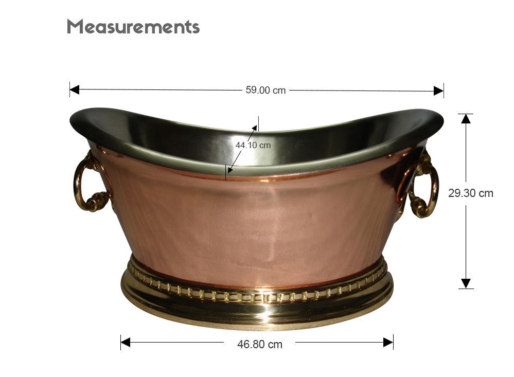 copper beverage tub dimensions