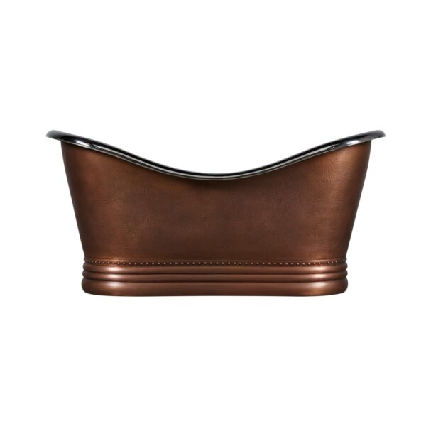 Double Slipper Nickel Interior Copper Bathtub