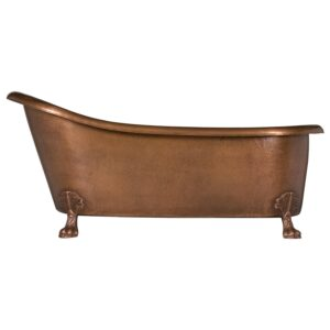 66 inch Hammered Copper Clawfoot Slipper Bathtub