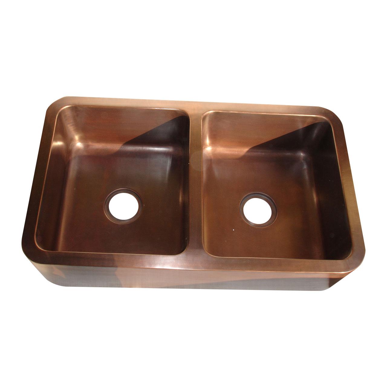 Rectangular Double Bowl Copper Kitchen Sink Coppersmith