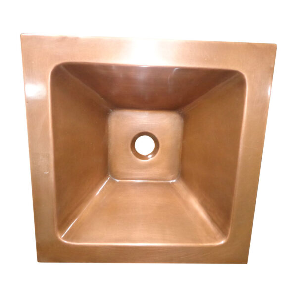 Square Double Wall Copper Sink Tapering Depth