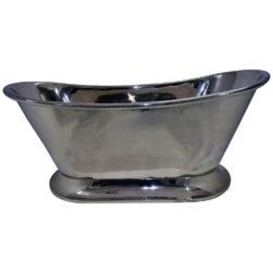 Nickel Finish Curved Pedestal Copper Bathtub