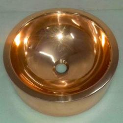 Double wall Copper Sink Shiny Copper Finish Inside Outside