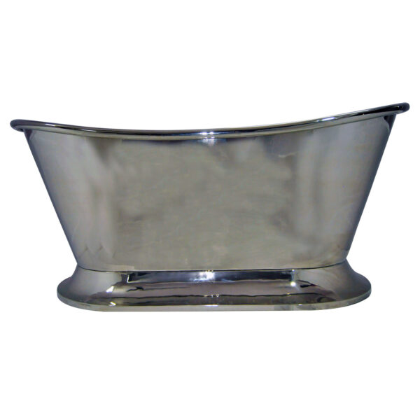 Nickel Finish Curved Pedestal Copper Bathtub