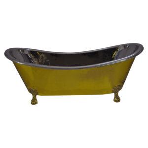 Clawfoot Brass Bathtub Nickel Interior