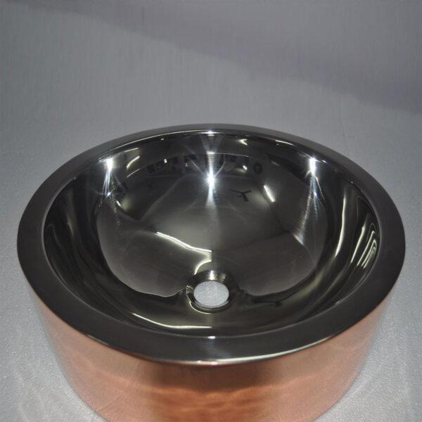 Double Wall Copper Sink Nickel Inside Shiny Copper Outside