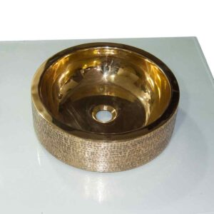 Stunning Exterior Hammered Brass Sink Smooth Finish Inside