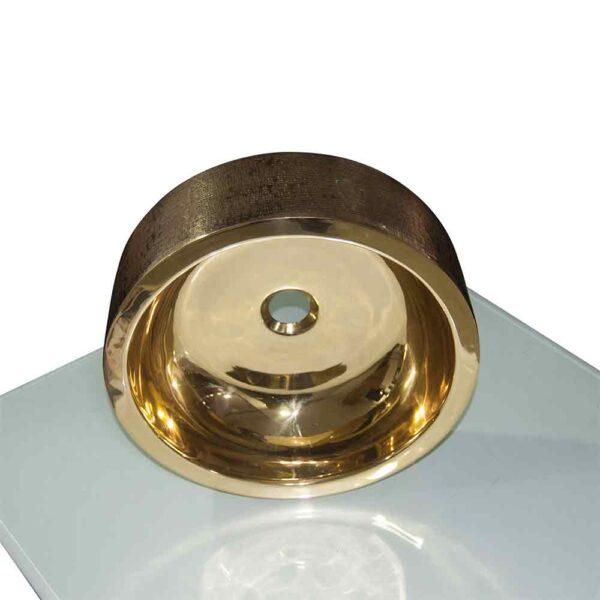 Stunning Exterior Hammered Brass Sink Smooth Finish Inside