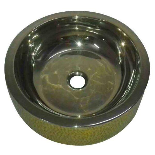 Double Wall Brass Sink Lustrous Nickel Finish Inside