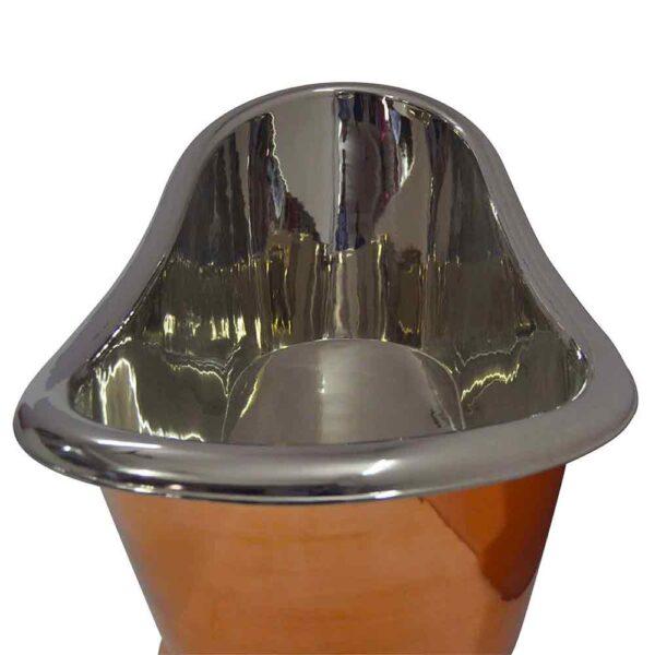 Copper Pedestal Tub Nickel Interior