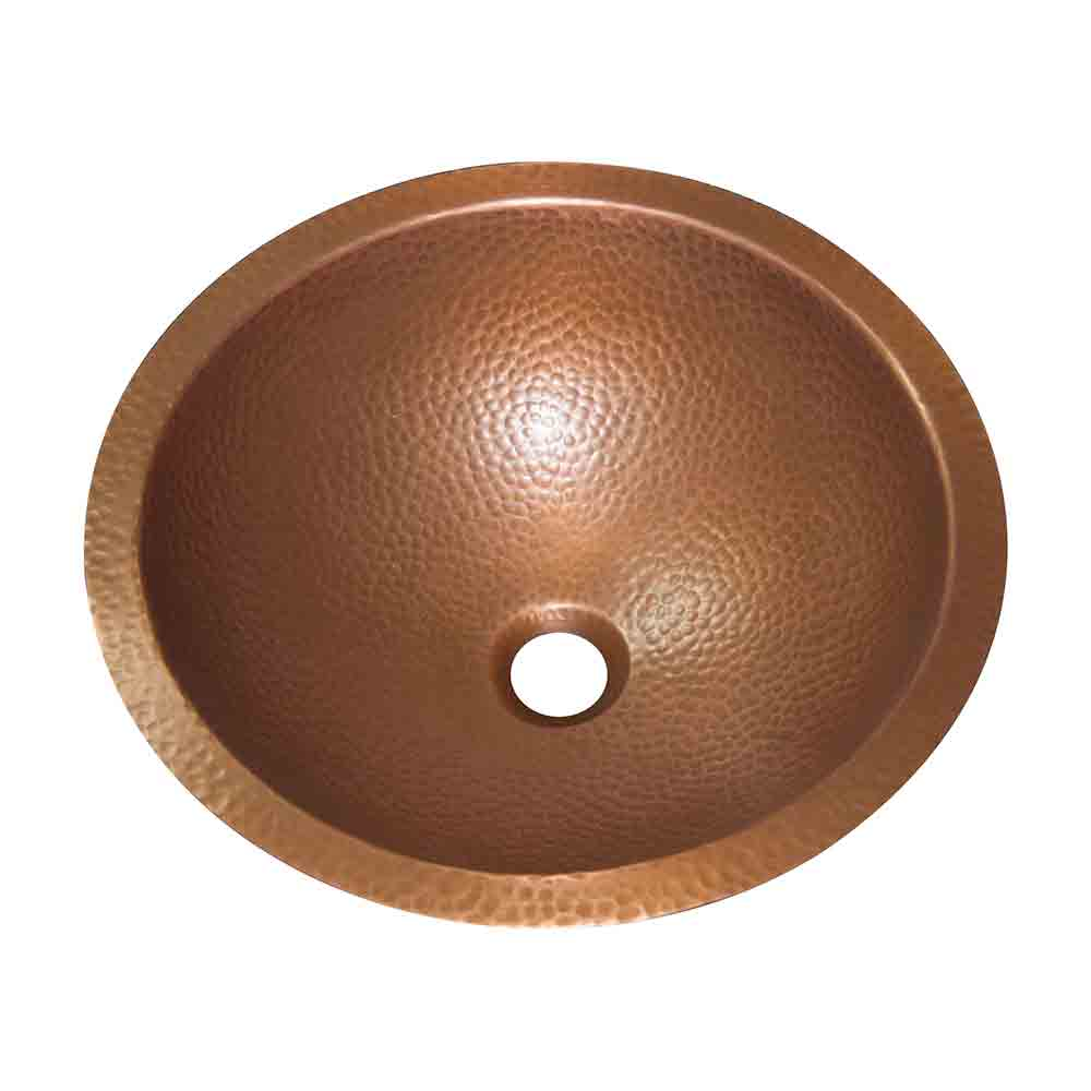 Round Hammered Copper Bowl Sink