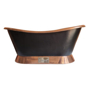Slanting Base Copper Bathtub Polish Copper Interior & on Base Black Outside