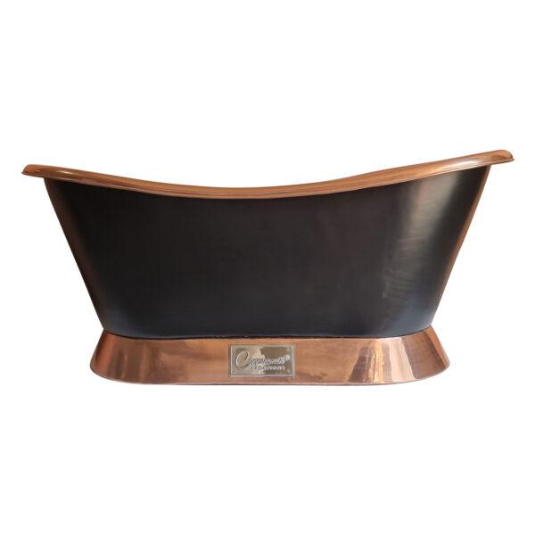 Slanting Base Copper Bathtub Polish Copper Interior & on Base Black Outside