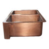 Double Bowl Copper Kitchen Sink Front Apron Hammered Antique Finish