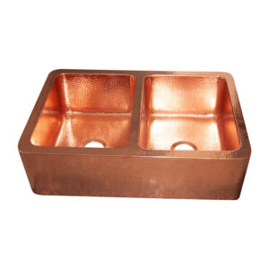 Double Bowl Copper Kitchen Sink Front Apron Hammered Shining Copper Finish