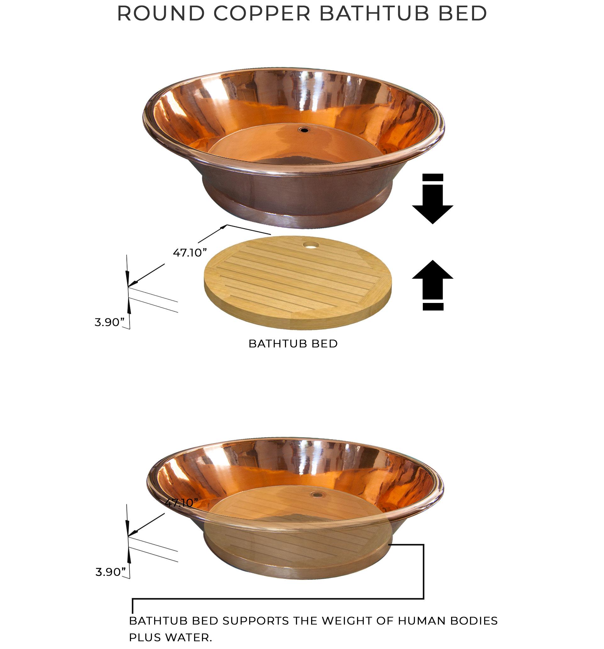 Round Copper Bathtub Bed