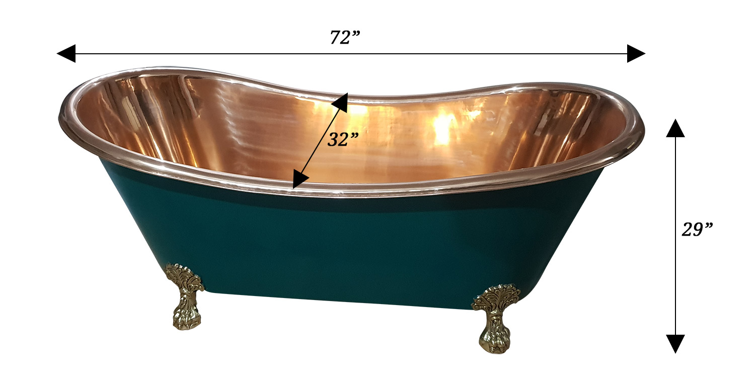 Copper Bathtub Olive Green Exterior Brass Clawfoot Legs ...