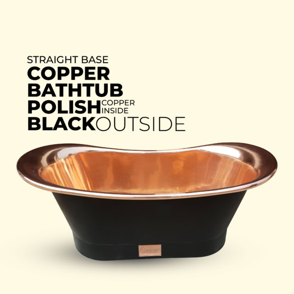 Straight Base Copper Bathtub Black Outside