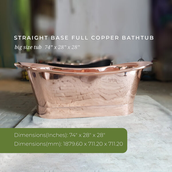 Straight Base Full Copper Bathtub Big Size 74x28x28