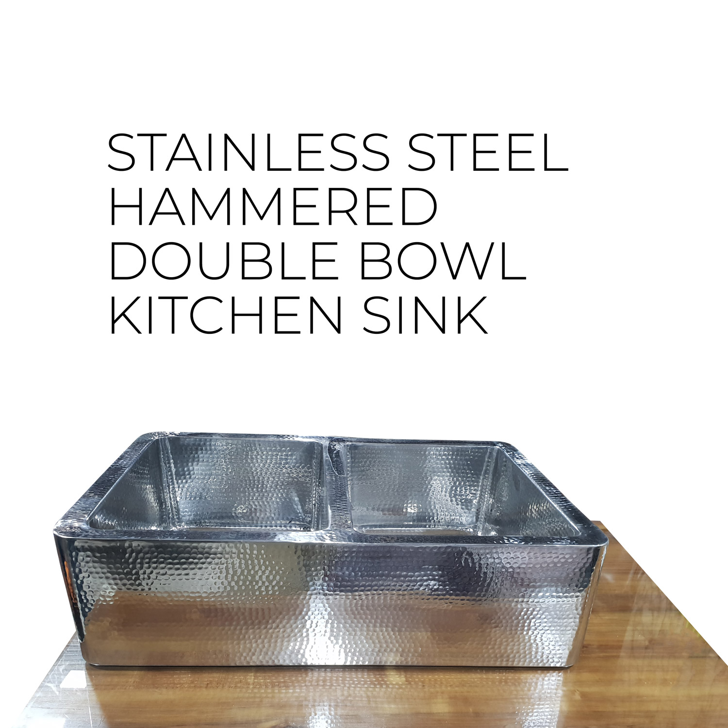 Stainless Steel Kitchen Sink Front Apron Hammered Double