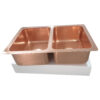 Double Bowl Copper Kitchen Sink Front Apron Smooth