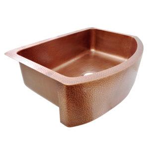 D-Shape Copper Kitchen Sink Single Bowl Front Apron