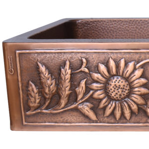 Single Bowl Sunflower Design Front Apron Copper Kitchen Sink