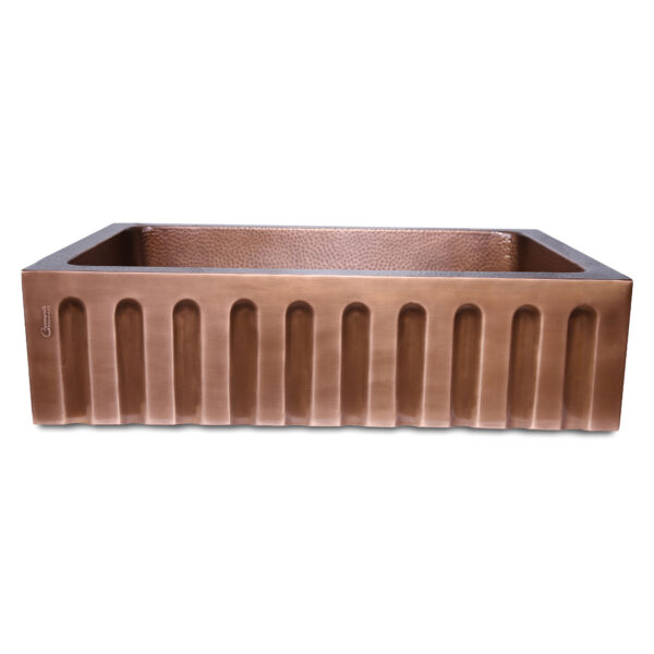 Single Bowl Vertical Parallel Lines Front Apron Copper Kitchen Sink