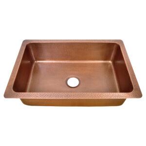 Single Bowl Vertical Parallel Lines Front Apron Copper Kitchen Sink