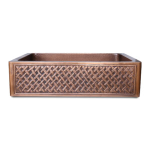 Single Bowl Woven Front Apron Copper Kitchen Sink