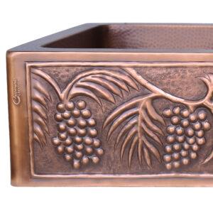Double Bowl Five Grape Front Apron Copper Kitchen Sink