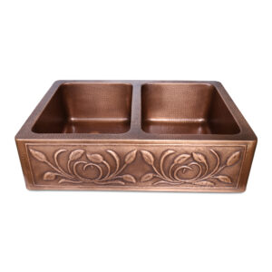 Double Bowl Petal Front Apron Copper Kitchen Sink