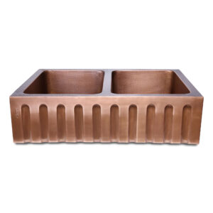 Double Bowl Vertical Parallel Lines Front Apron Copper Kitchen Sink