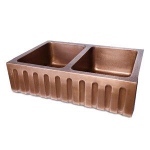 Double Bowl Vertical Parallel Lines Front Apron Copper Kitchen Sink