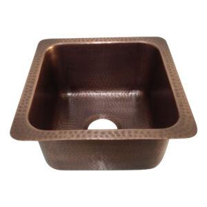 """Square Copper Bar Sink Antique Hammered Undermount Sink 14"""" x 14"""" x 8"""""""