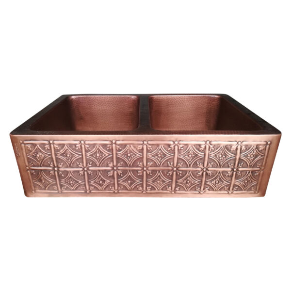 Double Bowl Four Petals in Arcs Front Apron Copper Kitchen Sink