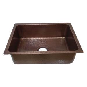 Copper Drop-In Kitchen Sink 23.50 x 17.50 x 8 inch