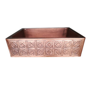 Single Bowl Square Mirror in Box Front Apron Copper Kitchen Sink