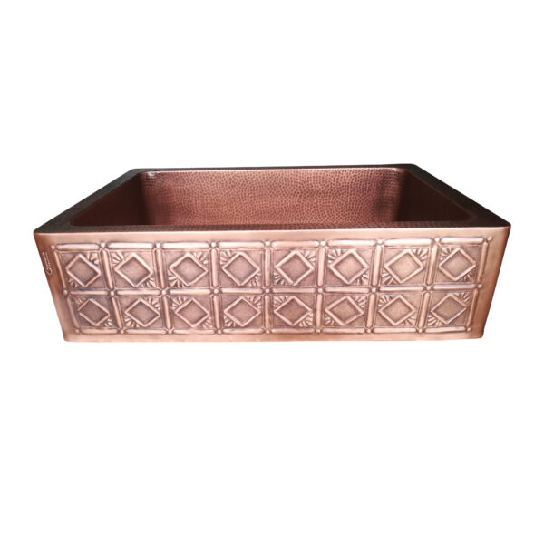 Single Bowl Square Mirror in Box Front Apron Copper Kitchen Sink