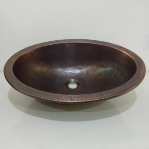Oval Copper Sink Dark Antique 20 x 15.50 x 6 inch